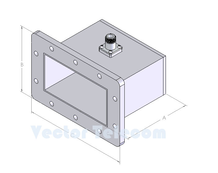 WR510 Waveguide to Coaxial Adapter