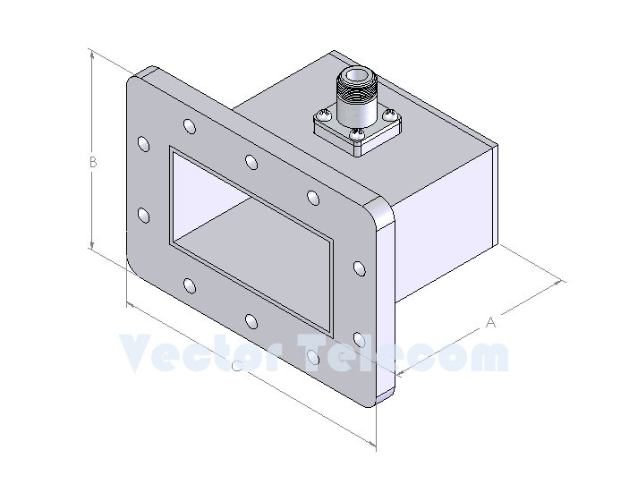 WR340 Waveguide to Coaxial Adapter