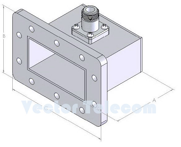 WR229 Waveguide to Coaxial Adapter